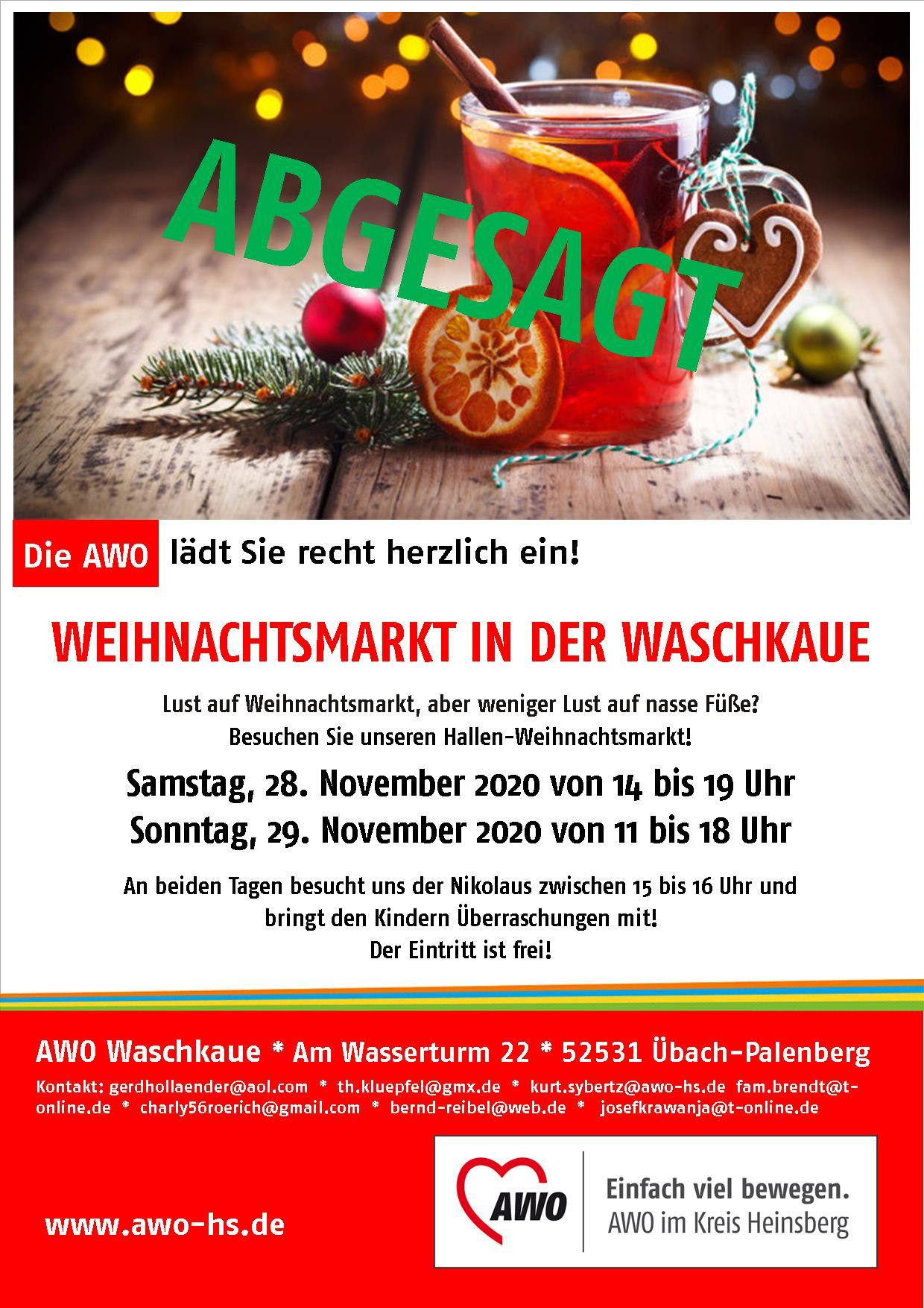 Der AWO-Weihnachtsmarkt 2020 in der Waschkaue (Übach-Palenberg) wird abgesagt 1
